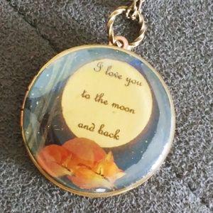 Cuddling fox love locket necklace